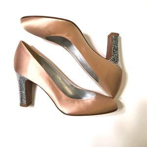 🌸J. Crew Starla Satin Pumps Glitter Heel